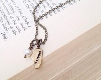 Tiny Brass State Necklace.