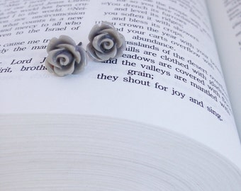 Light Gray Rose Post Earrings.
