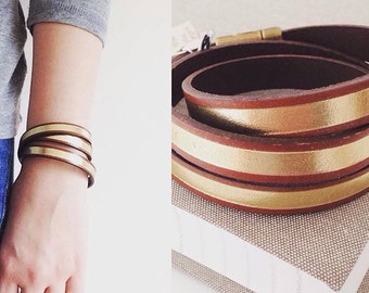 Gold & Brown Leather Wrap Bracelet.  Magnetic Clasp.