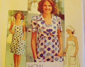 Vintage Sewing Pattern, Retro 70s Sundress, Tie Jacket, Midriff Dress, Summer, Boho, Peasant, Hippie, Size 8  bust 31 , Simplicity 7292