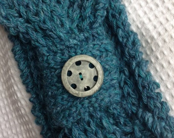 Teal Handknit Wool Winter Headband with Button Pin