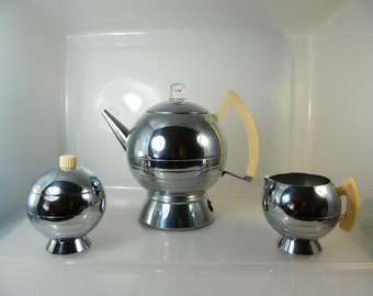Vintage Chase Art Deco Chrome Coffee Percolator Cream and Sugar Comet 17084 Modern Coffee Station
