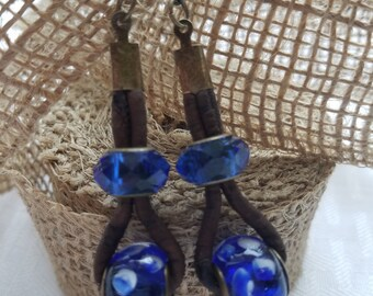 Lamp Work Blown Glass and Cork Earrings