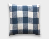 15% OFF Navy Buffalo Check Throw Pillow Cover. 20X20 Inches. Dark Blue Decorative Cushion Cover. Large Gingham.