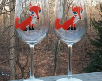 Foxy hand painted wine glasses
