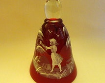 Vintage Red Glass Bell with Mary Gregory Style feature painted in white, Girl between groups of trees, birds overhead, clear top, not signed