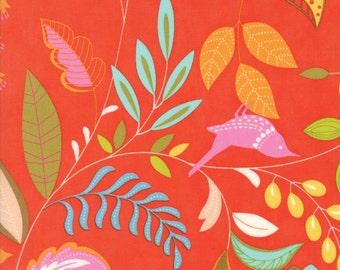 Colorful Bird and Leaf Fabric in Orange - Wing & Leaf by Gina Martin from Moda - Fat Quarter