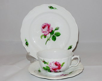 Meissen Cup, Saucer and Cake Plate, Rose Motif