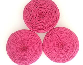 Fuchsia round straw accents set if 3 : item # 2566