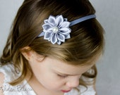 Silver Baby Headband - Flower Girl Headband - 16 Petals Silver Satin Flower Handmade Headband - Infant to Adult Headband