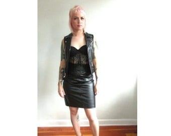 l SALE l Vintage 1990's 100% Leather Pencil Skirt Size M