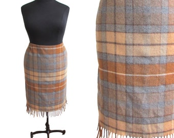Plus Size Vintage 1990's Wool Plaid Fringe Skirt Size 24-26