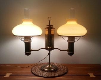 Antique Brass E Miller E M & Co Double Student Desk Lamp New Vestal 28 x 21