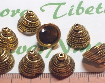 6 pieces a pack of 13x11mm 11mm opening Pyramids Shells Cone Antique Gold Lead Free Pewter