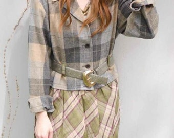 Steampunk Pendleton Plaid Jacket - Altered Couture - Upcycled Junk Gypsy Style - Medium