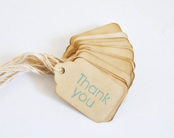 45 Thank You miniature xs Coffee stained vintage inspired favor gift tags. primitive. rustic. wedding. scrapbooking