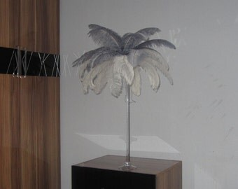 100 feathers  White & Silver Ostrich Feather Plume for Wedding centerpieces,