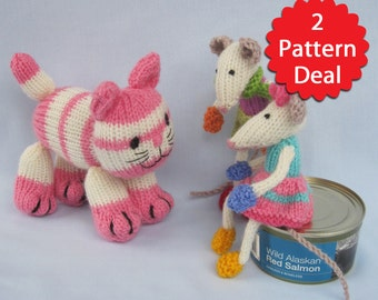 Cupcake and the Mischievous Mice - 2 pattern deal - toy cat and mouse knitting patterns - PDF INSTANT DOWNLOAD