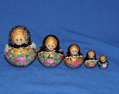 Vintage Russian Nesting Doll Matryoshka Set Black Gold Pink Flowers Hand Painted Russian Wood Stacking Dolls