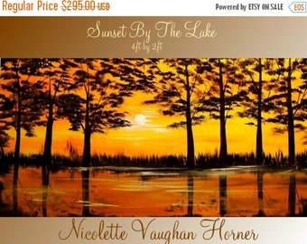 """Sale ORIGINAL Abstract Oil Contemporary Landscape Trees On Gallery Canvas  by Nicolette Vaughan Horner 48""""x24"""""""