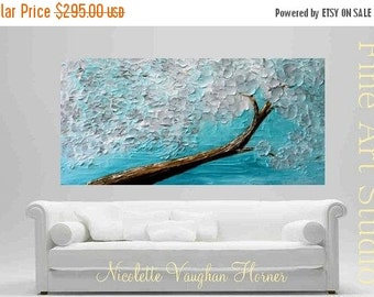 "XL Oil Winter Magic painting Abstract Original Modern 48"" palette knife impasto oil painting by Nicolette Vaughan Horner"
