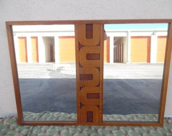 ALL ABOUT U / Cool Huge Double Mid Century Wood Mirror / Carved U Shaped Central Band / Mid Century Modern