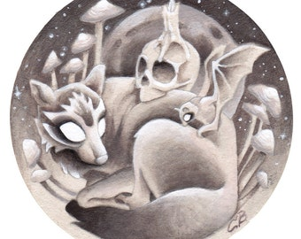 """Wolf Fox Skull Bat Witchcraft Painting Drawing, """"A Dusky Night"""""""