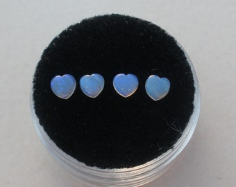 4 Australian Blue Opal Heart Gems 4mm