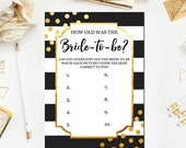 Gold and Black Bridal Shower Games, How Old was the Bride to Be Bridal Shower Printable Games, Gold Bridal Printable Instant Download BR25
