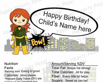 Personalized X-men Gene Gray Phoenix - Girl Hero - Shower / Birthday Candy Bar Wrapper,  Printed pack of 25 wrappers - Foil wrap included