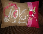 Burlap Love Pink Throw Pillow Cover Valentines Mothers Day Wedding  Throw Pillow 12 BY 16 Size Machine Embroidered Grannies Embroidery