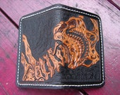 pain in the neck skeleton skull heavy duty small custom made leather wallet/card holder