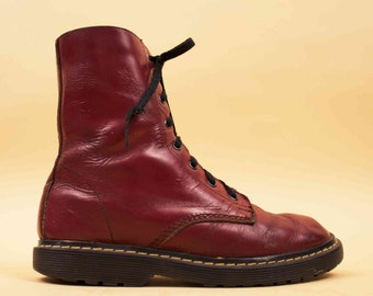 80s 90s Vtg Oxblood Genuine LEATHER Combat Ankle Boot / Lace up Grunge Punk Rock Doc Marten Quality! / US 7 - 6.5 Euro 37 - 37.5