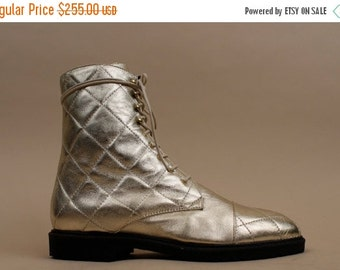 24HR FLASH SALE 80s 90s Vtg Quilted Soft Leather METALLiC Lace Up Ankle Boots / Italian Balmain-Esque Shoes / Deadstock Mint! / Grunge Punk