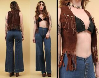 70s Vtg Genuine Suede LEATHER Studded FRINGE Hippie Vest / Boho Biker Mama Rocker Sleeveless Jacket / Xxs Xs