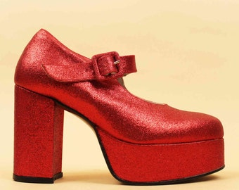 90s does 70s Vtg Cherry GLITTER Red Leather Mega Platform Mary Jane Ankle Strap Chunky Heels / Lolita 8 Eu 38.5