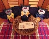 Primitive Whimsical Country Halloween BLACK BAT Dolls Tucks Bowl Fillers Ornaments Ornies