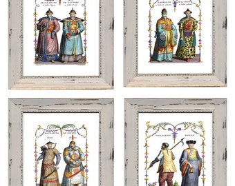 Discount Price. Set of 4 Chinese Mens Costume Prints. 8 x 10 inches. Discount Chinese Prints. Chinese Emperor Costumes Imperial Chinese