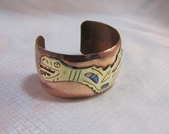 c1950's Mexico Mixed Metals Brass and Copper Serpant Figural Bracelet