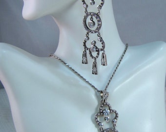 BARSE Sterling and Crystal Chandelier Earrings and Matching Pendant