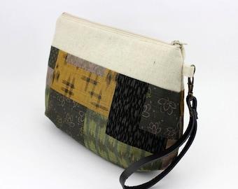 Wristlet Purse,Gift For Women, Clutch Purse,Patchwork Pattern Green Yellow Black