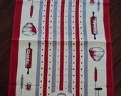HOT MESS SALE Vtg. 40s/50s Tea Towel Kitchen Utensils Red Gray Exc Cond