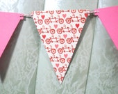 Bicycle Banner, Valentine Banner, Wedding Banner, Bike Banner, Pink Banner, Bicyclist, Mantel Banner, Bicycle Bunting, Bicycle Garland, Bike