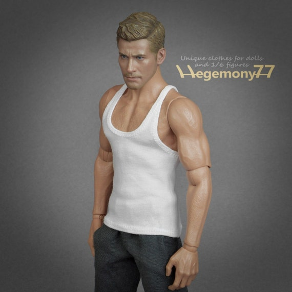 1/6th scale white tank top vest for: regular size collectible movable action figure bodies