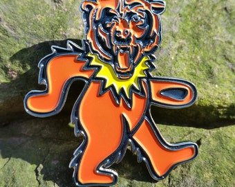 SALE - Dancing Chicago Bears pin - Grateful Dead / Jerry Garcia / Soldier Field inspired - trey, core four, dancing bear, dead and company