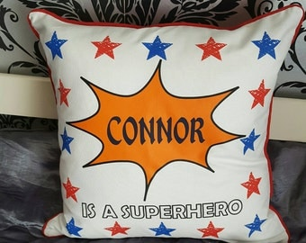 Personalised superhero cushion cover