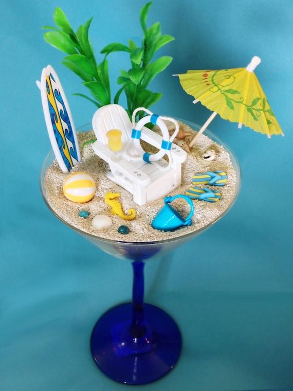 Yellow blue beach miniature terrarium tropical drink glass for Beach hut decoration items