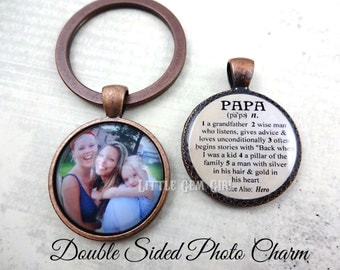 Papa Key Chain Charm - Double Sided Custom Photo & Papa Dictionary Definition Keychain - Personalized Father's Day Gift from Grandkids
