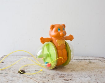 Vintage Fisher Price Corn Popper - 1978 Bear Walking Vintage Toy Walking Toddler Toy Cute Animal Pull String