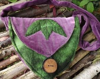 Purple Leaf Messenger Bag-Velvet Bag-  pixie bag - woodland bag - Leaf bag -shoulder bag - Purple Bag-unique bag